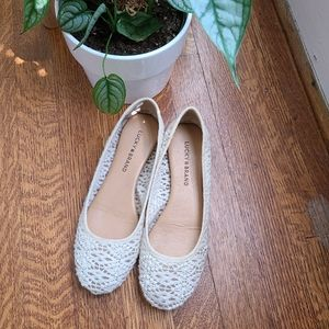 Lucky Brand Ivory White Lace Flats size 7